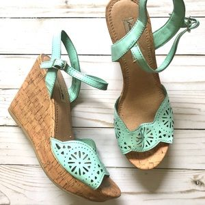 American Eagle Outfitters Mint Wedge Sandal